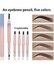Waterproof Eyebrow Pencil with Brow Comb Brush, Automatic Retractable Brow Pen Colour Makeup Cosmetic Tool with replacement(Black+Dark brown+Light Brown+ Gray+brown)