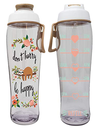 BPA Free Reusable Water Bottle with Time Marker – Motivational Fitness Bottles – Hours Marked – Drink More Water Daily – Tracker Helps You Drink Water All Day -Made in USA (Happy Sloth, 30 oz.)