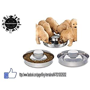 King International Stainless Steel Dog Puppy Litter Food Feeding Weaning Bowl (Silver)