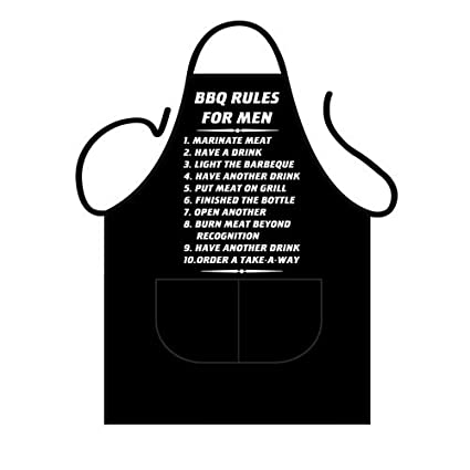 Delantal, diseño con reglas de la barbacoa para hombres ...