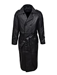 Men's Overcoat DB TRENCH 6965 Black Real Sheep Leather Full Length Long Duster DOUBLE BREASTED Trench Coat