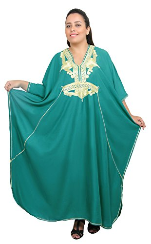 Moroccan Caftan Women Plus size Hand Made Caftan with Embroidery XXL to 4XL Green by Moroccan Caftans