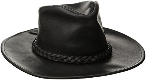 Henschel Walker, Full Grain Leather, Shapeable Brim, Braided Band, Black, Large