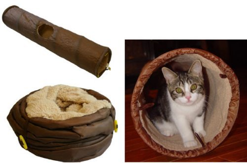 Collapsible Sherpa Lined Cat Tunnel with Peek-a-Boo Hole