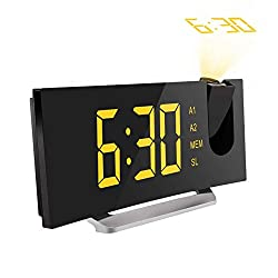 Mpow 5 Projection Alarm Clock, FM Radio Alarm Clock with Dual Alarm, Digital Clock with 3 Dimmer Display for Bedroom, Ceiling, USB Charging Port, Backup Battery for Setting (Black-Yellow)