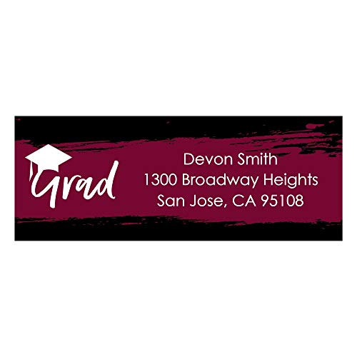 Custom Maroon Grad - Best is Yet to Come - Personalized Burgundy Graduation Party Return Address Labels - Set of 30