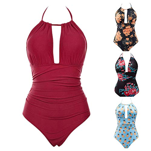Cutout One Piece Swimsuits Tummy Control Swimwear Sexy Lace-up Back Monokini Slimming Bathing Sui(Orange,XL) by yijiamaoyiyouxia swimwear (Image #5)