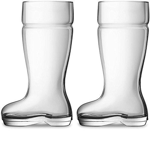 Chefcaptain Boot Mug Set of 2 Huge 1 Liter Glass Beer Mugs Drinking Glasses, Clear, 1 Liter by Chefcaptain