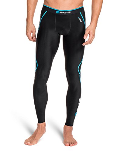 SKINS Men's A200 Compression Long Tights, Black/Neon Blue, X-Small