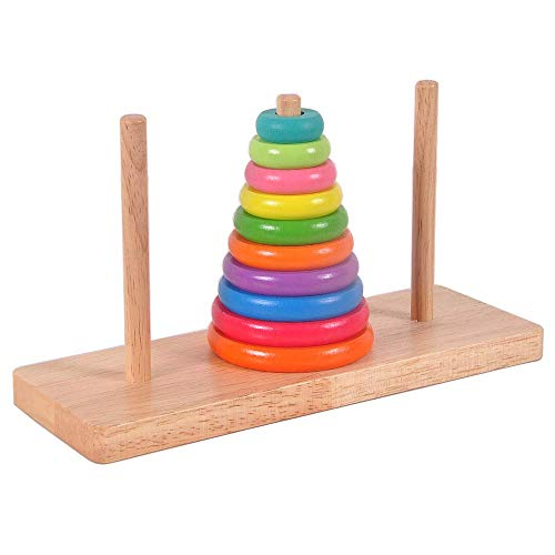 GRACEON Handmade Wooden Baby Toys: Engine - Wooden Stacker and Pull Toy Adult Classical Intelligence Toy Wooden Toy Large Ten-Story Hanno Tower (Yugong Yishan) Hanoi Tower Color Boxed