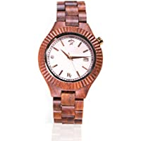 Wooden Wrist Watch for Women - Sandalwood and Mother of Pearl/Wood Watch Band/Analog Citizen Movement - Includes Logo Stamped Box