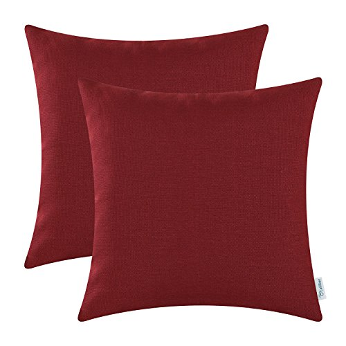 CaliTime Pack of 2 Throw Pillow Covers Cases Couch Sofa Home Decoration High Class Faux Linen Solid Color 18 X 18 inches Burgundy