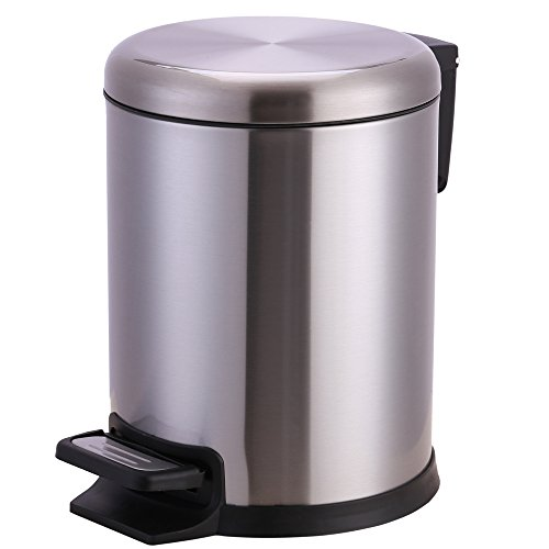 Xena 5 Liter Stainless Steel Office Bin Bathroom trash Can Small with Step Pedal by Xena