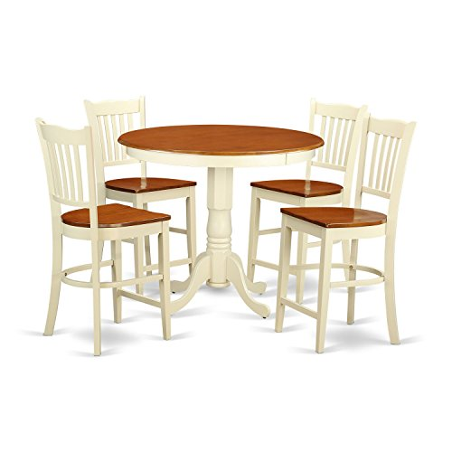 East West Furniture JAGR5-WHI-W 5 Piece Pub Table and 4 Bar Stools with Backs Set