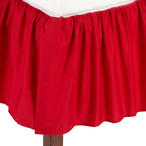 American Baby Company 100% Cotton Percale Ruffled Crib Skirt, Red (Blue And Red Baby Bedding)