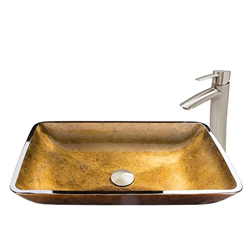 VIGO Rectangular Copper Glass Vessel Bathroom Sink and Shadow Vessel Faucet with Pop Up, Brushed Nickel (Pedestal Sink Gold compare prices)