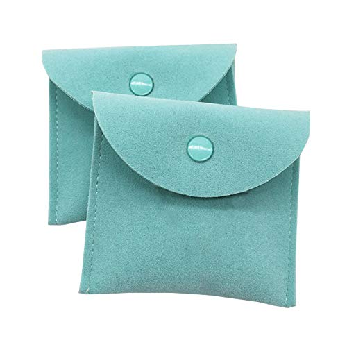 Vinerstar Pack of 2 PCS Velvet Jewelry Pouch with Snap Button for Necklaces Bracelet Rings Watch (Mint) from Vinerstar
