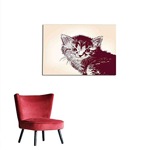 Mural Decoration Arrow,Grunge Style Illustration of a Baby Little Innocent Kitty on Vintage Background,Maroon Cream The Office Poster W35.4 x L31.5]()