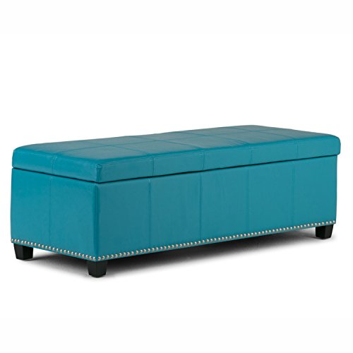 Simpli Home Kingsley Rectangular Storage Ottoman Bench, Large, Mediterranean Blue (Leather Large Rectangular Ottoman)