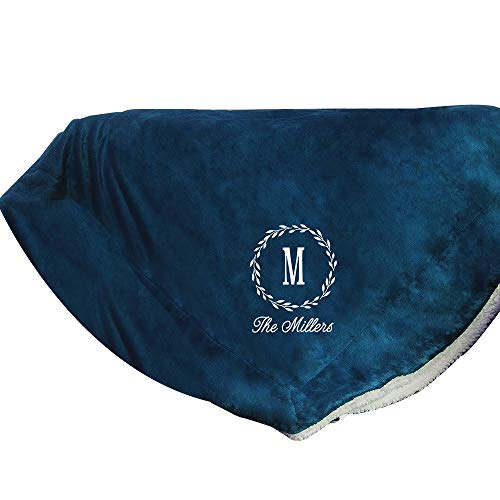 GiftsForYouNow Embroidered Monogram Personalized Sherpa Throw Blanket, Navy