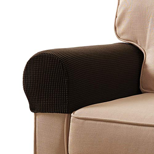 Veronica Spandex Stretch Armrest Covers Set of 2 (Chocolate)