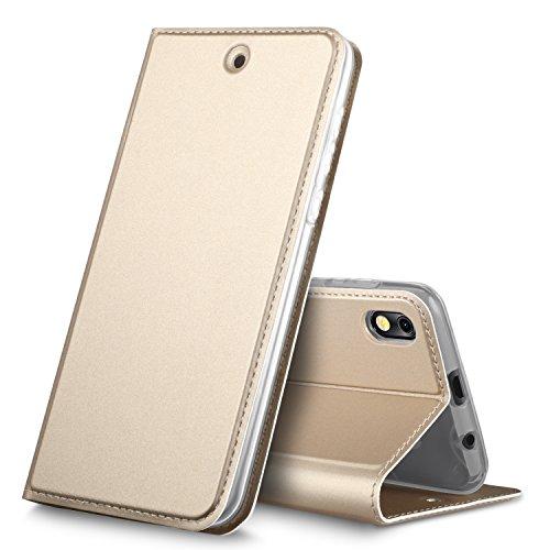 BLU Advance 5.2 case, KuGi BLU Advance 5.2 case, ultra-thin DD style PU Cover + TPU Back stand Case For BLU Advance 5.2 smartphone(Gold)
