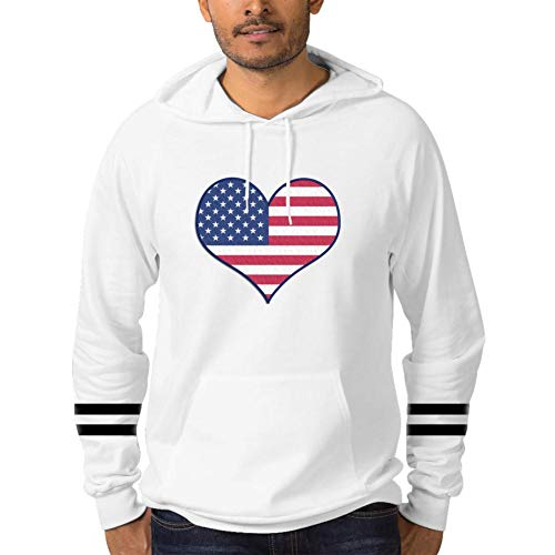 1mq Cuff - BodFun Men Cotton Hooded Pockets Sweatshirt Fourth of July 3D Printed White