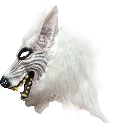 Smartcoco Halloween Masquerade Mask Scary Child's Play Realistic Crazy Rubber Creepy Party Mask Halloween Costume Decoration-White (Realistic Wolf Mask)