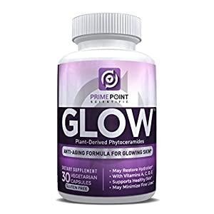 GLOW Plant-Derived Phytoceramides BEST Anti-Aging Renewal Formula for Healthy Skin, Erases Fine Lines & Wrinkles Hydrates & Restores Skin, Ceramides from Rice Vitamins A,C,D,&E - 30 Capsules