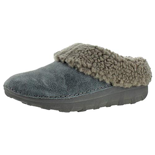 FitFlop Womens Loaff Snug Real Fur Suede Slipper Shoes, Charcoal, US 5