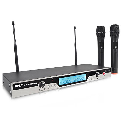 Updated Premium Pyle UHF Wireless Microphone System, Dual Channel, LCD Display, Wireless Audio, Handheld Microphone (2), 100 Channel, Rack-Mountable, Power Adapter, Audio Connection Cable (PDWM5900)