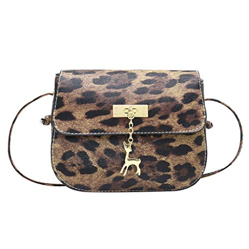 Mnyycxen Womens Fashion Leopard Print Fawn Pendant Shoulder Bag Square Messenger Bag Phone Bag