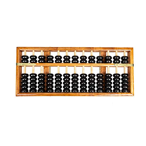 (Asian Home Vintage-Style 13 Column Rods Wooden Abacus Professional Soroban Chinese Japanese Calculator Counting Tool (Large) - 14.5