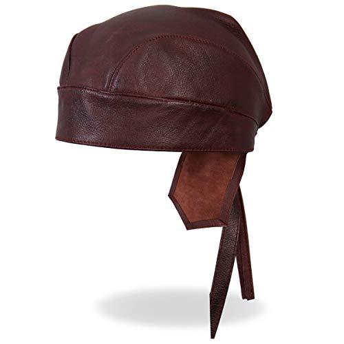 Hot Leathers Burgundy Maroon Wine Genuine Leather Headwrap Biker Durag - Genuine Leather Headwrap