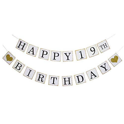 Happy 19th Birthday Banner - Gold Glitter Heart for 19 Years Birthday Party Decoration Bunting -