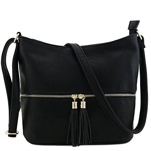 Tassel Zipper Bucket Crossbody Bag Black