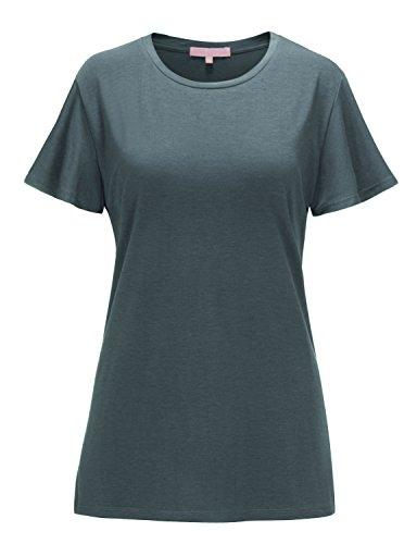 Regna X Women's Short Sleeve V Neck Loose Flowy Comfy Tunic Shirts Grey XL by Regna X (Image #5)