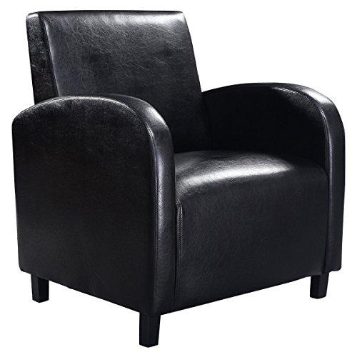 Giantex Black Pu Leather Leisure Chair Arm Modern