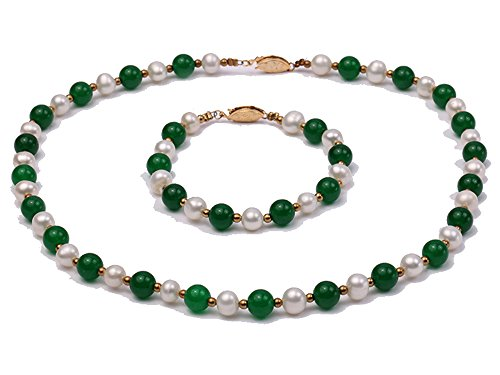 JYX 7-8mm White Freshwater Pearl & Green Jade Beads Necklace and (Cultured Pearl Jade Bracelet)
