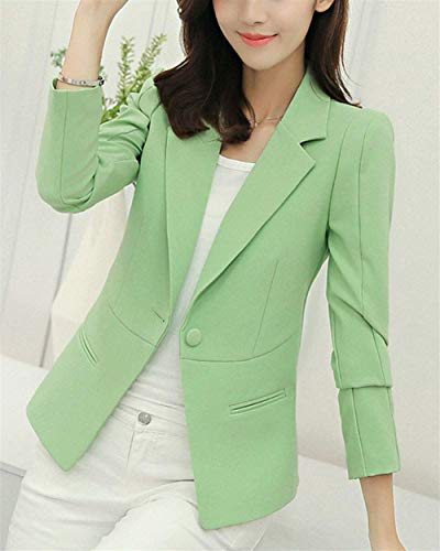 Tailleur Lunga Casual Chic Outwear Button Colore Blazer Manica Moda Donna Autunno Business Dou Puro Grün Giaccone Giacca Bavero Da Giovane Ragazza 4q6Fw