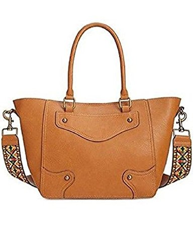 INC Womens Sonng Faux Leather Embroidered Satchel Fashionable Handbag Saddle Large ()