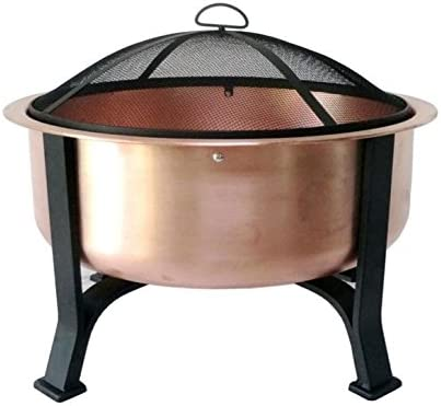 Global Outdoors 26-in Genuine Copper Deep Bowl Fire Pit with Screen, Cover and Safety Poker