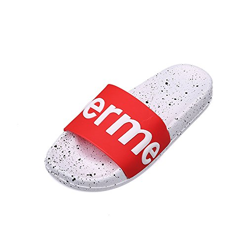 2018 Natural Home Slippers Indoor Floor Shoes Summer Women Sandals Slippers(Red-43/12 B(M) US Women)