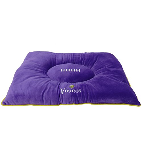 NFL PET Bed - Minnesota Vikings Soft & Cozy Plush Pillow Bed. - Football Dog Bed. Cuddle, Warm Sports Mattress Bed for Cats & Dogs