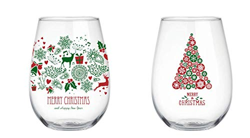 Merry Christmas and Happy New Year, 22 oz Stemless Wine Glass, Set of 2, Perfect Christmas gift; For Wife, Husband, Mom, Dad, Girlfriend, Boyfriend, Friend, Men, Women, Him or Her …