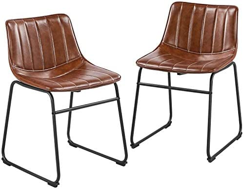 Topeakmart Dining Chairs 18'' Faux Leather Dining Chairs Industrial Armless Dining Room Chairs Metal Legs Upholstered Seat
