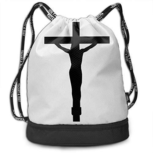 Bulk Drawstring Backpack, Lightweight Gym Sport Bundled Bag Wet Dry Separated Yoga String Cinch Tote Bag Multipurpose Casual Bag For Adult Kids - Christian Jesus Cross -