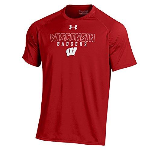 Under Armour NCAA Wisconsin Men's Short Sleeve Tech Tee, Flawless, Large (Armour Under Ncaa)