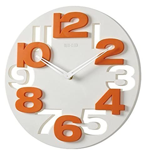 Amazon.com: GMMH Quiet Bathroom Clock 8808 3D Design Modern Wall Clock Wall Clock Office Clock (White Orange): Kitchen & Dining