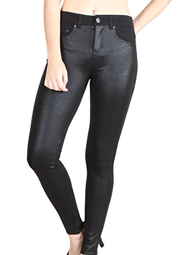 Banded waistline stretch skinny jeans with shiny front panel faux - Jeans Shiny